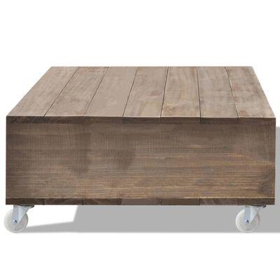 vidaXL Soffbord brun massivt trä