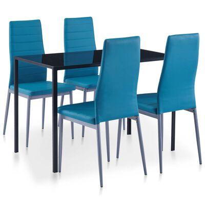vidaXL Matbord och stolar 5 delar blå