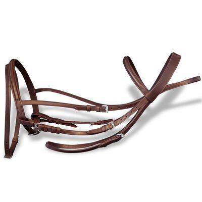 Aachengrimma med bett och tyglar brun läder ponny
