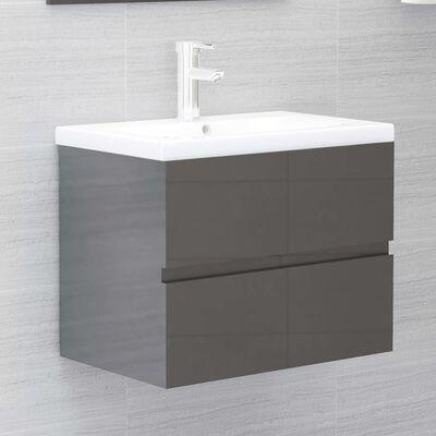 vidaXL Tvättställsskåp grå högglans 60x38,5x45 cm spånskiva