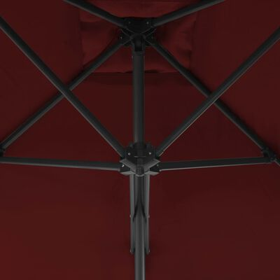 vidaXL Trädgårdsparasoll med stålstång vinröd 300x230 cm