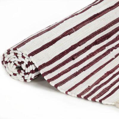 vidaXL Handvävd matta Chindi bomull 120x170 cm vinröd och vit