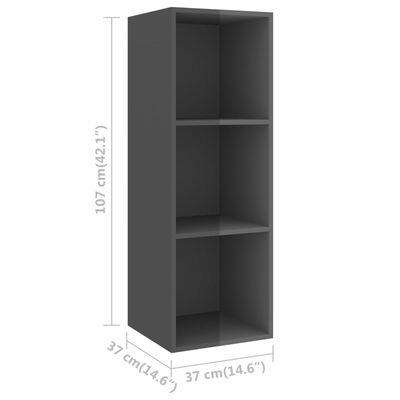 vidaXL Väggmonterad tv-bänk grå högglans 37x37x107 cm spånskiva