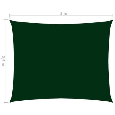 vidaXL Solsegel oxfordtyg rektangulärt 2,5x3 m mörkgrön