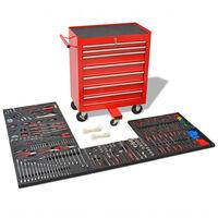 vidaXL Verktygsvagn med 1125 verktygsstål röd