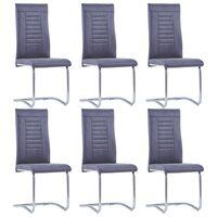 vidaXL Fribärande matstolar 6 st konstmocka grå