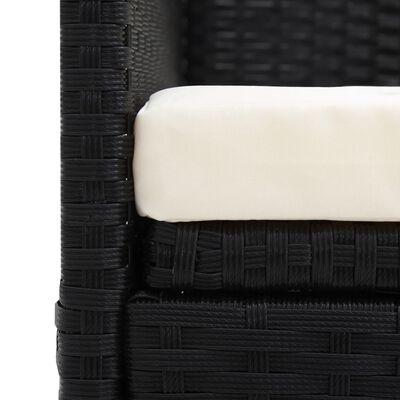 vidaXL Solsäng med dyna & kuddar konstrotting svart
