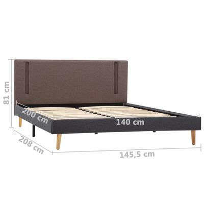 vidaXL Sängram med LED taupe och mörkgrå tyg 140x200 cm