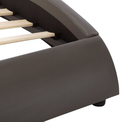 vidaXL Sängram med LED grå konstläder 140x200 cm