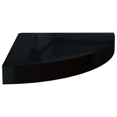 vidaXL Svävande hörnhyllor 2 st svart högglans 25x25x3,8 cm MDF