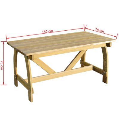 vidaXL Trädgårdsbord 150x74x75 cm impregnerad furu,