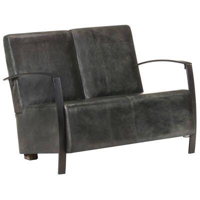 vidaXL 2-sitssoffa nött grå äkta skinn