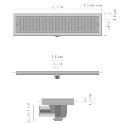 vidaXL Golvbrunn 93x14 cm rostfritt stål