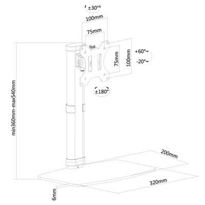 """NewStar Bordsstativ för skärm 10""""-30"""" justerbar 6 cm svart"""