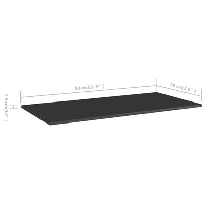 vidaXL Hyllplan 4 st svart högglans 80x20x1,5 cm spånskiva