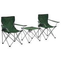vidaXL Campingbord och stolar 3 delar grön