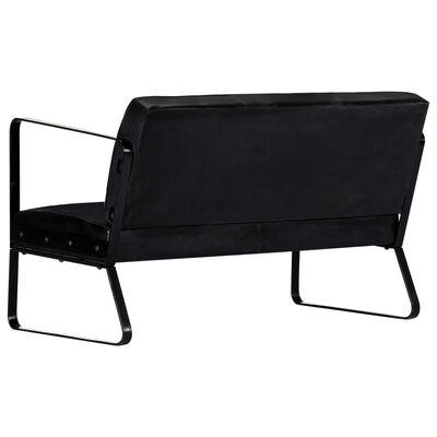 vidaXL 2-sitssoffa äkta läder svart