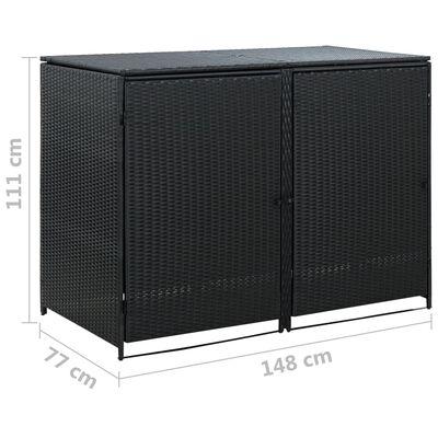 vidaXL Skjul för 2 soptunnor konstrotting 148x80x111 cm svart