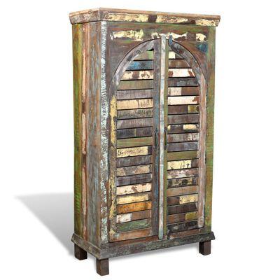 vidaXL Bokhylla återvunnet trä flerfärgat med 3 hyllor & 2 dörrar