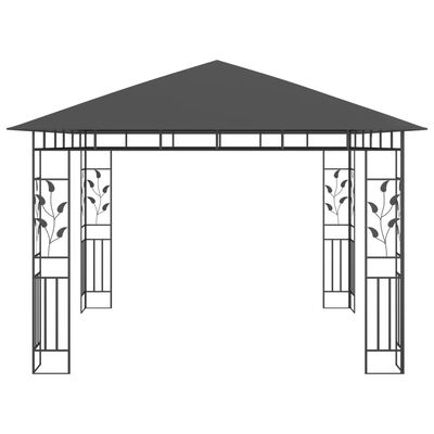 vidaXL Paviljong med myggnät och ljusslinga LED 3x3x2,73m antracit