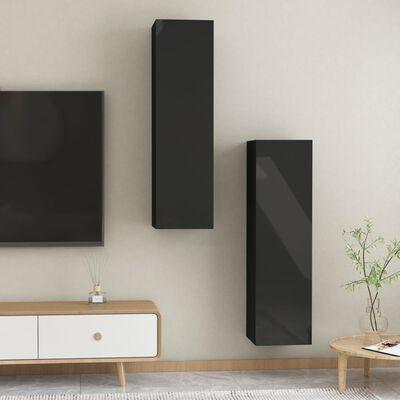 vidaXL TV-skåp 2 st svart högglans 30,5x30x110 cm spånskiva
