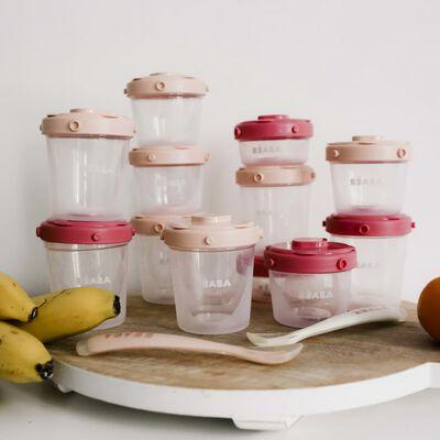 Beaba Barnmatsförvaring set 1st Meal Set rosa och korall