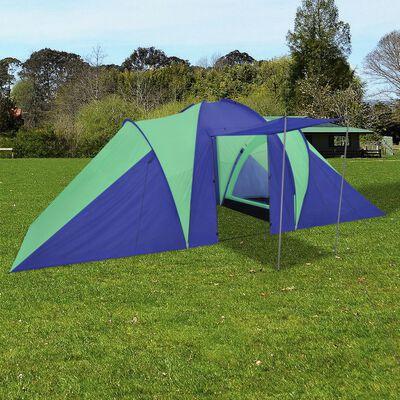 Campingtält 6 personer 580x240x200cm marinblå/grön, Grön