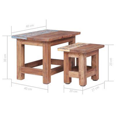 vidaXL Satsbord 2 st massivt återvunnet trä