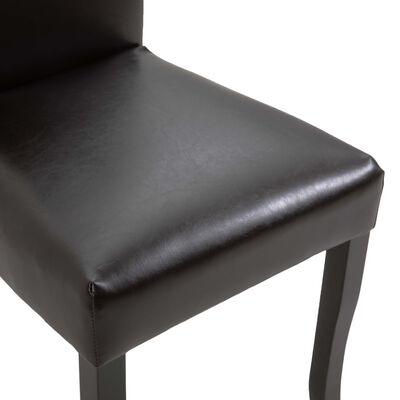 vidaXL Matstolar 6 st mörkbrun konstläder