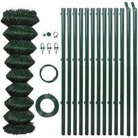 vidaXL Flätverksstängsel med stolpar stål 1x15 m grön