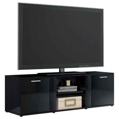 vidaXL TV-bänk svart högglans 120x34x37 cm spånskiva