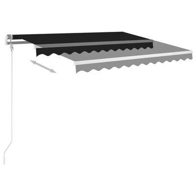 vidaXL Markis med stolpar manuellt infällbar 3x2,5 m antracit
