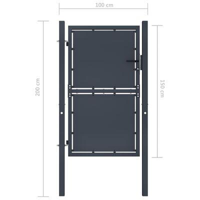 vidaXL Trädgårdsgrind stål 100x150 cm antracit