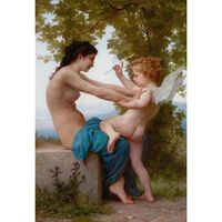 Young Girl Defending Herself,Adolphe William Bouguereau,60x40cm