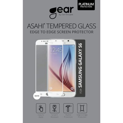 GEAR Härdat Glas Ashai 5.1 Samsung S6 Full Fit Vit,