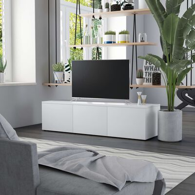 vidaXL TV-bänk vit 120x34x30 cm spånskiva