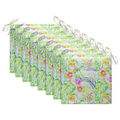vidaXL Trädgårdsstolar med dynor bladmönster 8 st massiv teak