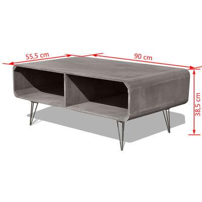 vidaXL Soffbord trä 90x55,5x38,5 cm massiv paulownia grå