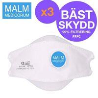 3 st CE FFP3 Malm Medicorum LAIANZHI 86 med Ventil Skyddsmask Andnings