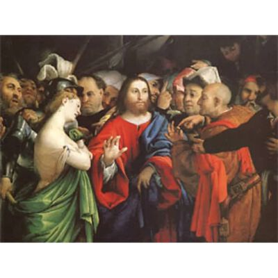 Christ and the Woman Taken in Adultery, Lorenzo Lotto