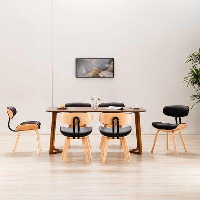 vidaXL Matstolar 6 st svart böjträ och konstläder