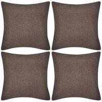 4 Kuddöverdrag i linnelook bruna 50 x 50 cm