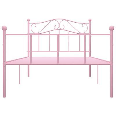 vidaXL Sängram rosa metall 100x200 cm
