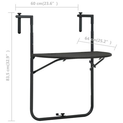 vidaXL Balkongbord brun 60x64x83,5 cm plast konstrotting