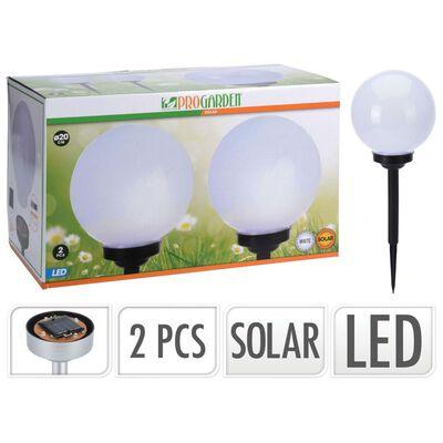 ProGarden Solcellslampor LED Ball 2 st 20 cm vit