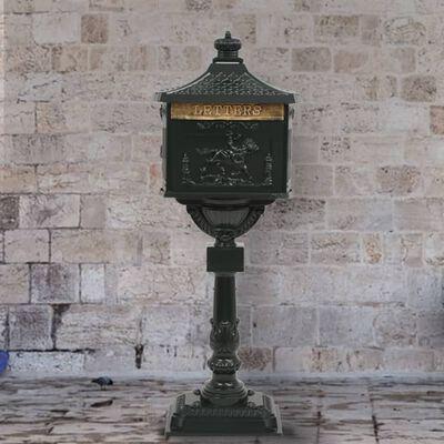 vidaXL Postlåda på stolpe vintage stil rostfri aluminium grön, Grön