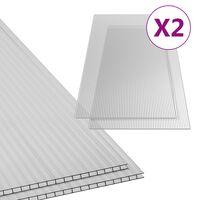 vidaXL Polykarbonatark 2 st 6 mm 150x65 cm