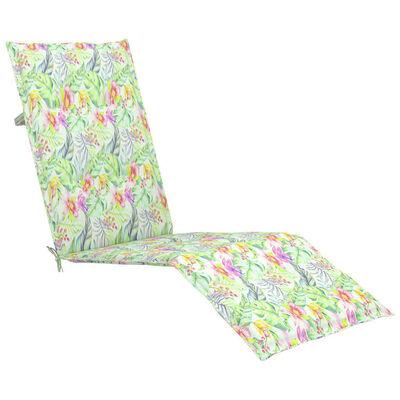 vidaXL Däckstol med fotstöd och dyna massivt akaciaträ
