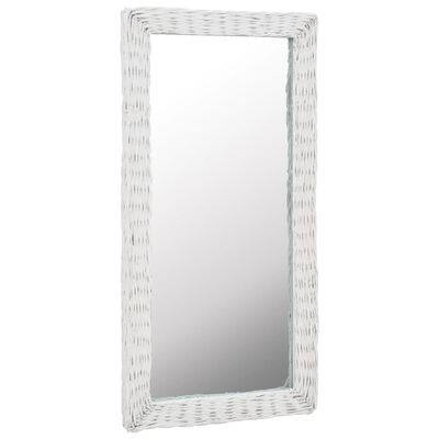 vidaXL Spegel i korgmaterial 50x100 cm vit, Vit