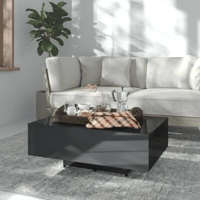 vidaXL Soffbord svart högglans 85x55x31 cm spånskiva